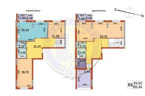 ЖК Злагода: планування 3-кімнатної квартири 151.34 м²