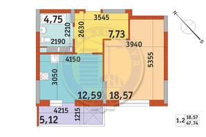 ЖК Злагода: планування 1-кімнатної квартири 47.74 м²
