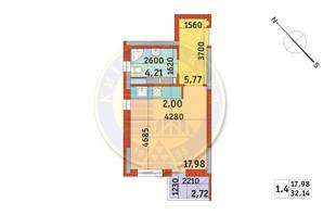 ЖК Злагода: планування 1-кімнатної квартири 32.14 м²