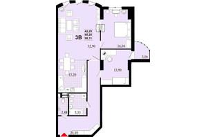 ЖК Златоуст: планировка 3-комнатной квартиры 107.2 м²