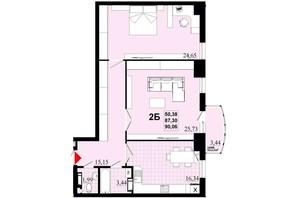 ЖК Златоуст: планировка 2-комнатной квартиры 90.06 м²
