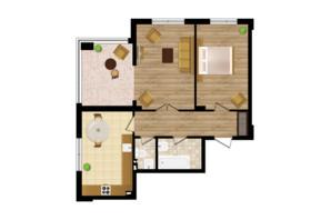 ЖК Золота Ера: планування 2-кімнатної квартири 64.1 м²