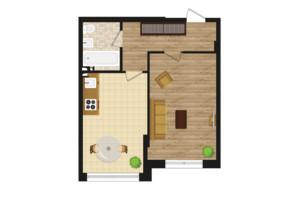 ЖК Золота Ера: планування 1-кімнатної квартири 41.8 м²