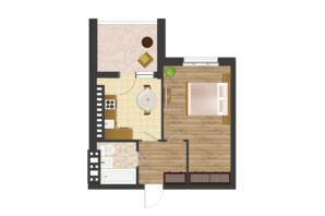 ЖК Золота Ера: планування 1-кімнатної квартири 44.12 м²