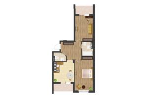 ЖК Золота Ера: планування 2-кімнатної квартири 74.16 м²