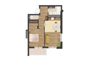 ЖК Золота Ера: планування 1-кімнатної квартири 56.72 м²