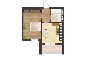 ЖК Золота Ера: планування 1-кімнатної квартири 41.64 м²