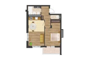 ЖК Золота Ера: планування 1-кімнатної квартири 56.55 м²