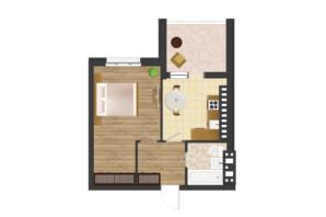 ЖК Золота Ера: планування 1-кімнатної квартири 43.43 м²