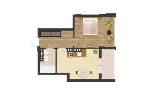 ЖК Золота Ера: планування 1-кімнатної квартири 49.19 м²