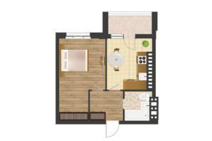 ЖК Золота Ера: планування 1-кімнатної квартири 43.05 м²