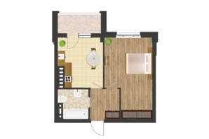 ЖК Золота Ера: планування 1-кімнатної квартири 44.02 м²