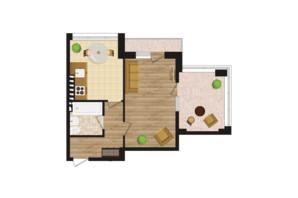 ЖК Золота Ера: планування 1-кімнатної квартири 44.5 м²