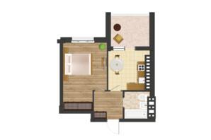 ЖК Золота Ера: планування 1-кімнатної квартири 42.35 м²