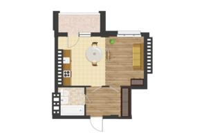 ЖК Золота Ера: планування 1-кімнатної квартири 39.24 м²