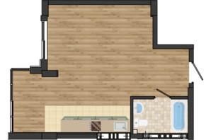 ЖК Золота Ера: планування 1-кімнатної квартири 40.51 м²