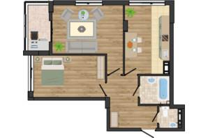 ЖК Золота Ера: планування 2-кімнатної квартири 62.89 м²