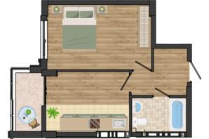 ЖК Золота Ера: планування 1-кімнатної квартири 38.23 м²