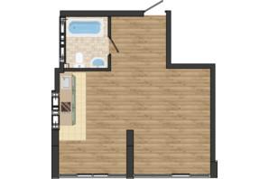 ЖК Золота Ера: планування 1-кімнатної квартири 40.58 м²
