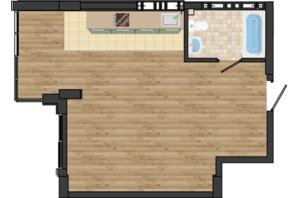 ЖК Золота Ера: планування 1-кімнатної квартири 42.04 м²