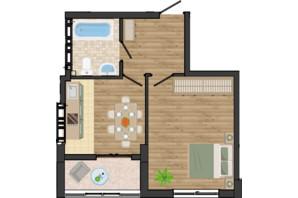 ЖК Золота Ера: планування 1-кімнатної квартири 38.77 м²