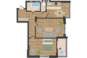 ЖК Золота Ера: планування 2-кімнатної квартири 64.08 м²