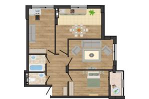 ЖК Золота Ера: планування 3-кімнатної квартири 77.49 м²