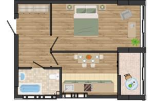 ЖК Золота Ера: планування 1-кімнатної квартири 39.6 м²
