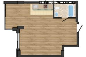ЖК Золота Ера: планування 1-кімнатної квартири 41.77 м²