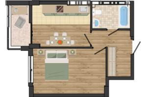 ЖК Золота Ера: планування 1-кімнатної квартири 39.67 м²