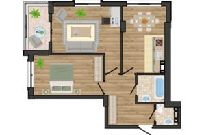 ЖК Золота Ера: планування 2-кімнатної квартири 62.41 м²