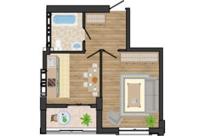 ЖК Золота Ера: планування 1-кімнатної квартири 38.98 м²