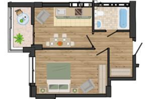 ЖК Золота Ера: планування 1-кімнатної квартири 40.15 м²