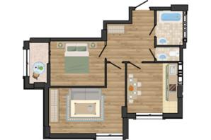 ЖК Золота Ера: планування 2-кімнатної квартири 57.78 м²