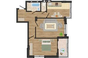ЖК Золота Ера: планування 2-кімнатної квартири 63.78 м²