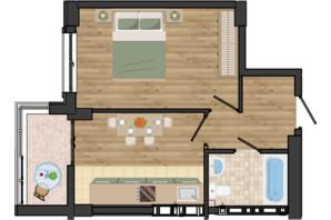 ЖК Золота Ера: планування 1-кімнатної квартири 38.71 м²