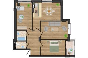 ЖК Золота Ера: планування 3-кімнатної квартири 76.67 м²