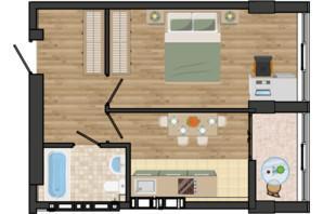 ЖК Золота Ера: планування 1-кімнатної квартири 40.1 м²