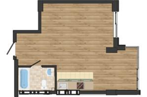 ЖК Золота Ера: планування 1-кімнатної квартири 40.24 м²