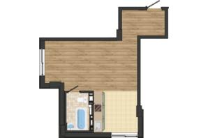 ЖК Золота Ера: планування 1-кімнатної квартири 38.28 м²