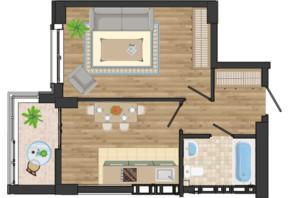 ЖК Золота Ера: планування 1-кімнатної квартири 38.74 м²