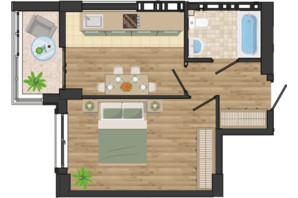ЖК Золота Ера: планування 1-кімнатної квартири 37.87 м²