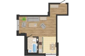 ЖК Золота Ера: планування 1-кімнатної квартири 37.61 м²
