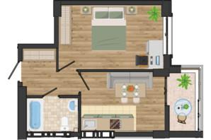ЖК Золота Ера: планування 1-кімнатної квартири 38.7 м²