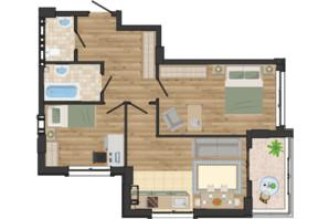 ЖК Золота Ера: планування 2-кімнатної квартири 60.73 м²
