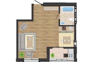ЖК Золота Ера: планування 1-кімнатної квартири 39.27 м²