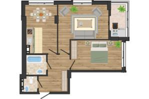 ЖК Золота Ера: планування 2-кімнатної квартири 61.93 м²