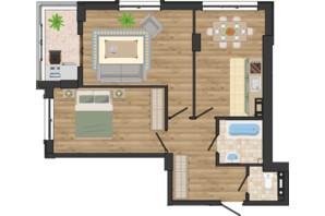 ЖК Золота Ера: планування 2-кімнатної квартири 62.42 м²