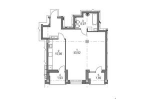ЖК iQ-House (Айкью Хаус): планировка 2-комнатной квартиры 65.54 м²