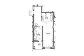 ЖК iQ-House: планування 1-кімнатної квартири 51.9 м²
